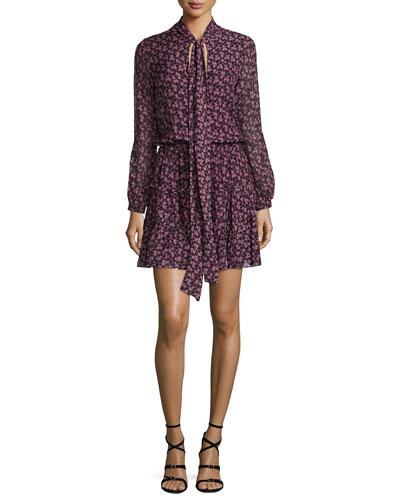Elida Long-Sleeve Tie-Neck Printed Silk Dress, Plum