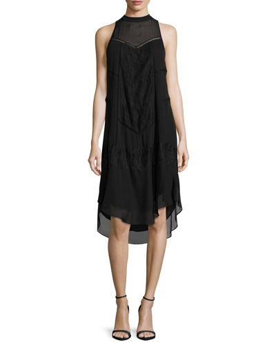 Romance Sleeveless Lace-Trim Shift Dress, Black