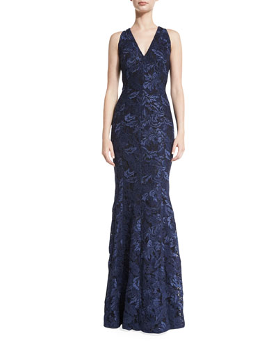 Sleeveless Lace Mermaid Gown, Midnight
