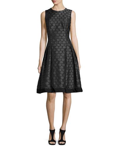 Sleeveless Pleated Jacquard Dress