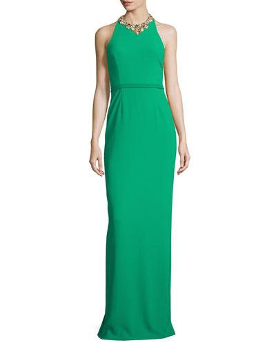 Sleeveless Embellished Halter Column Gown, Emerald
