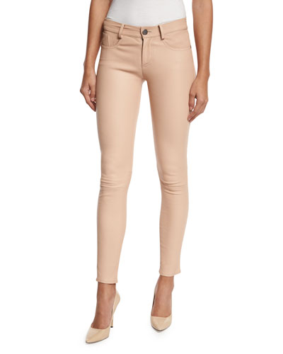 Angie 5-Pocket Leather Leggings, Light Pink