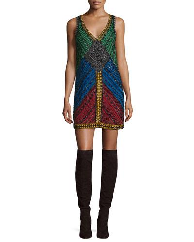 Nadia Embellished V-Neck Shift Dress