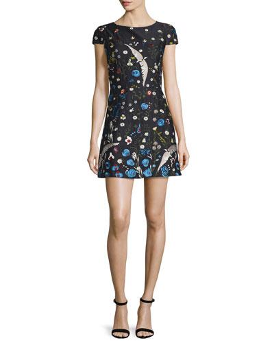Ellen Embroidered Short-Sleeve Dress