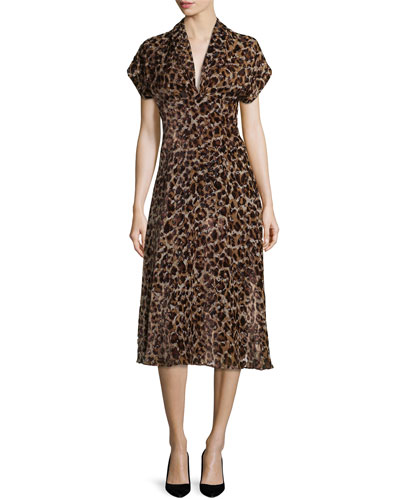 Brandee Draped-Neck Leopard-Print Midi Dress