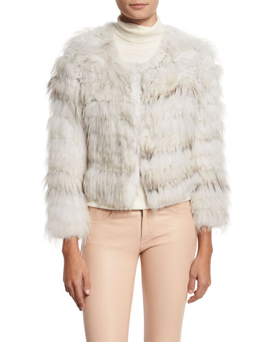 Fawn Rabbit & Fox Fur Bomber Jacket, Gray/White