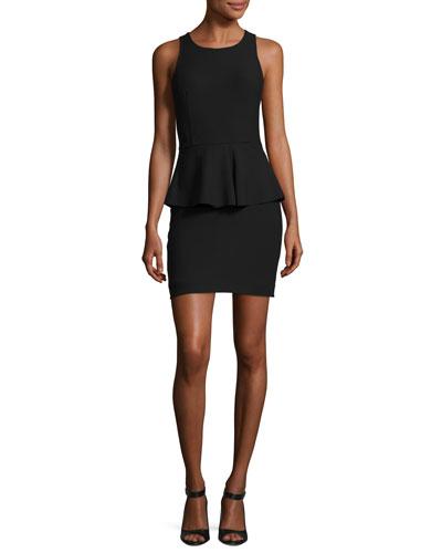 Sleeveless Ponte Peplum Dress, Black