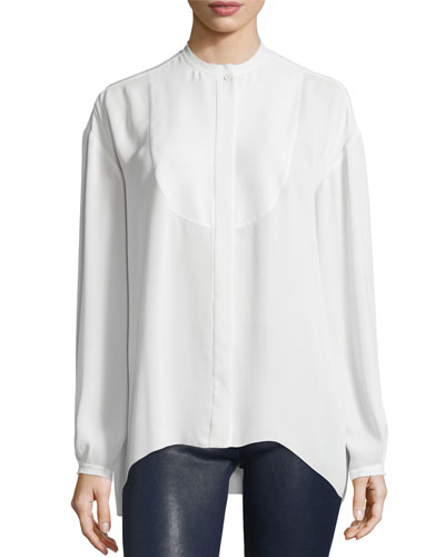 Long-Sleeve Bibbed Chiffon Blouse, Ivory