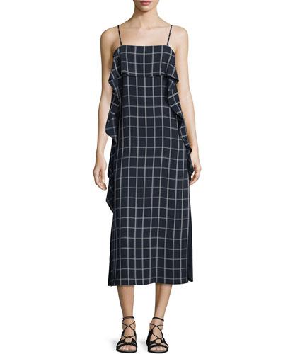 Marlee Sleeveless Ruffle-Trim Check Shift Dress, Royal/White