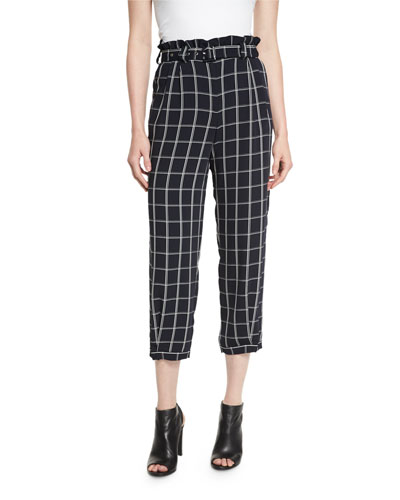Fritz Cropped Paperbag-Waist Check Pants, Royal