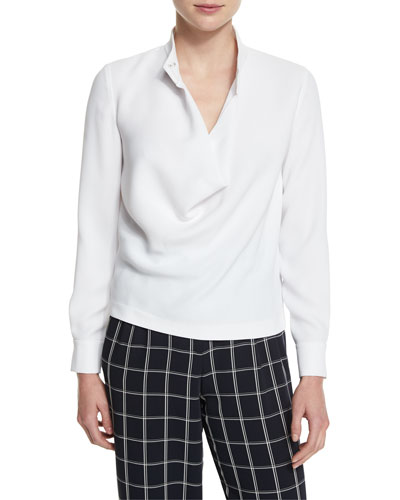 Darby Long-Sleeve Cowl Blouse, White