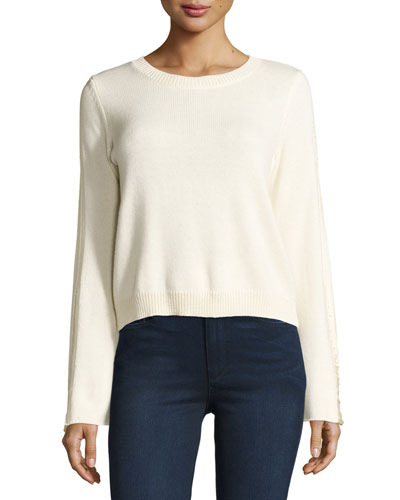 Misha Shredded-Trim Sweater, Ivory