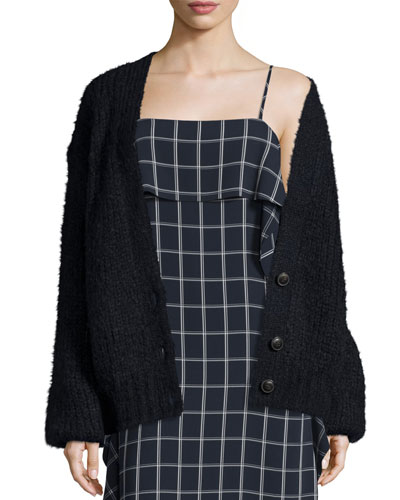Lars Ribbed V-Neck Cardigan, Royal