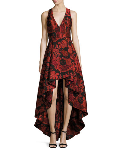 Sleeveless Floral Paisley High-Low Cocktail Dress, Black/Sesame