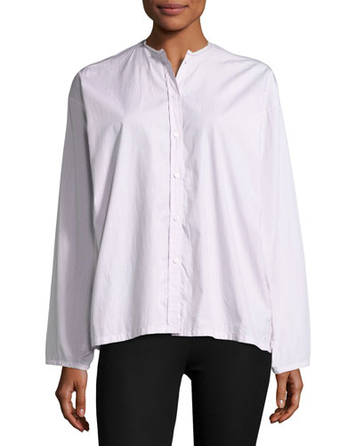 Albane Collarless Striped Cotton Button-Down Shirt, Red