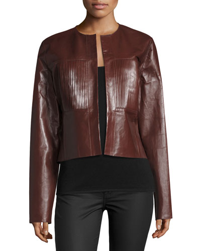 Nim Collarless Coated Leather Jacket, Mahogany
