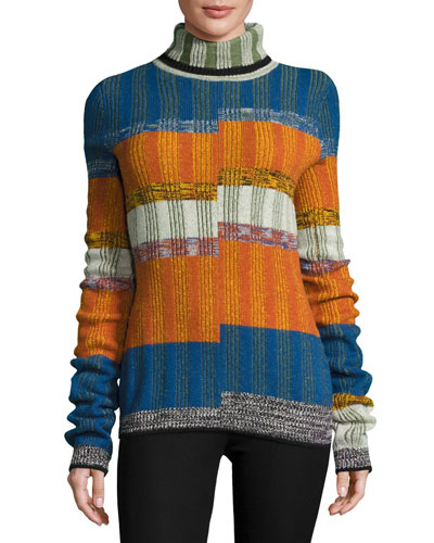 Turtleneck Split-Angle Striped Sweater