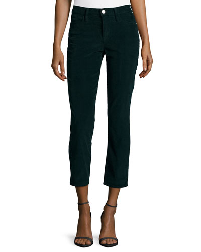 Le High Straight-Leg Cropped Corduroy Pants, Spruce