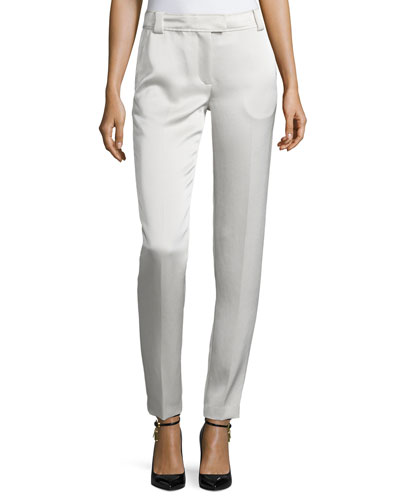 Wallace Satin Slim-Fit Trousers, Champagne