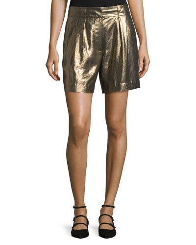 Paxton Single-Pleat Lamé Shorts, Gold