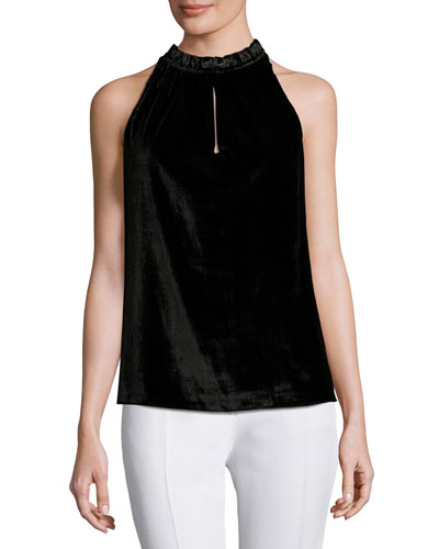 Miranda Velvet Sleeveless Top, Black
