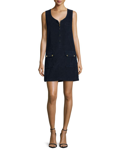 Cord Front-Zip Dress, Deep Blue Dive