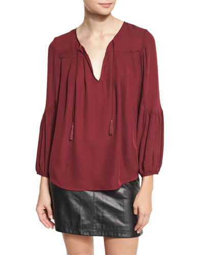Ezbeth Silk Georgette Peasant Top, Raisin