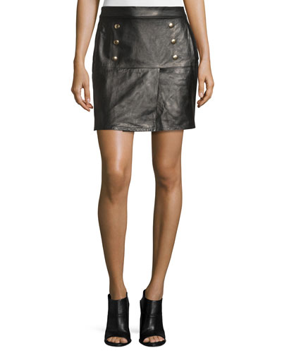 Overlay Leather Mini Skirt, Noir