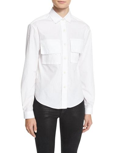 Amber Cotton Poplin Shirt, White