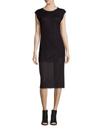Uma Cap-Sleeve Ribbed Shift Dress, Black