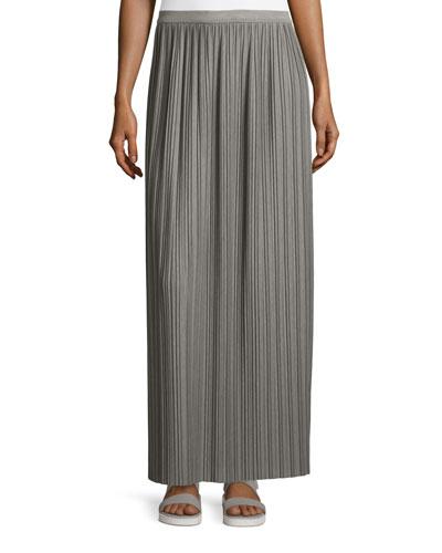 Osnyo Drapey Tee Pleated Maxi Skirt, New Gray Melange