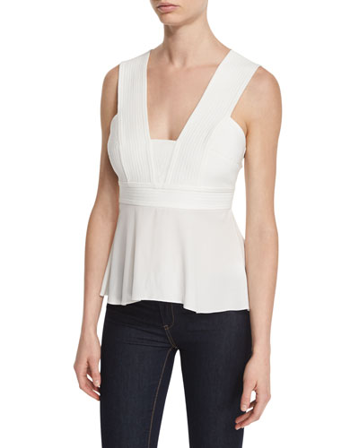 Leigh Sleeveless Pintucked Peplum Top, White