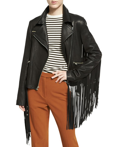 Charles Fringe Leather Moto Jacket, Black