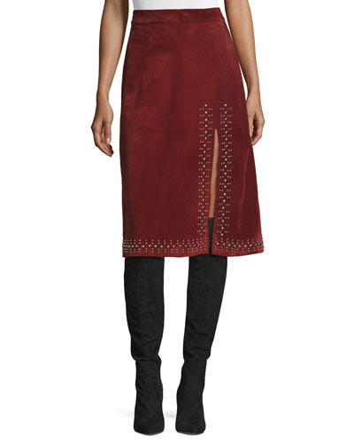 Aimee Studded Suede Skirt, Bordeaux
