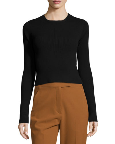 Chance Ribbed Cutaway-Back Sweater, Black