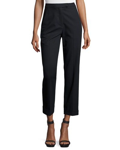 Benji Cropped High-Rise Pinstripe Pants, Navy