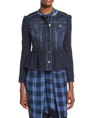 Denim & Tweed Jacket, Violet Stone Combo