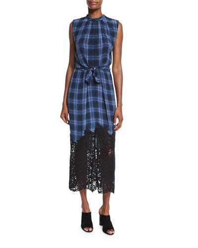 Lace-Hem Plaid Sleeveless Dress, Violet Stone Combo