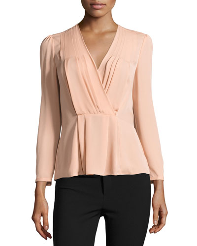 Long-Sleeve Georgette Wrap Top, Nude