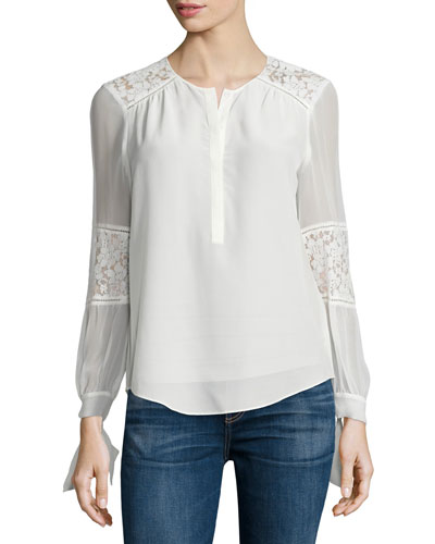 Sarah Silk Lace-Panel Top, Chalk