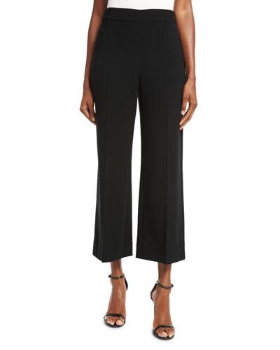 Crepe Wide-Leg Cropped Pants, Black