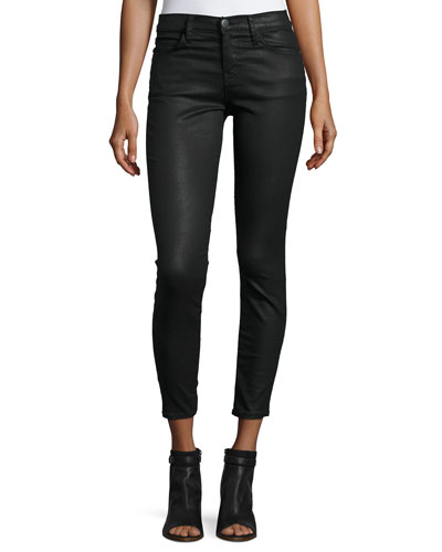 The Stiletto Coated Cropped Jeans, Black