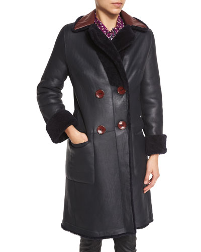 Grayson Reversible Mouton Fur & Leather Coat, Royal Navy/Red Onyx