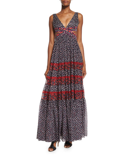Altessa Sleeveless Prairie Maxi Dress, Pirouette Dot/Montage Rubiate