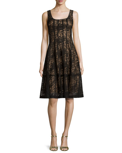 Sleeveless Paneled Lace Cocktail Dress, Black