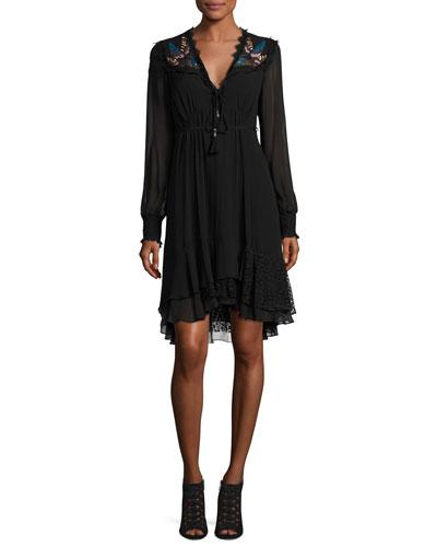 Long-Sleeve Embroidered Silk Dress, Black