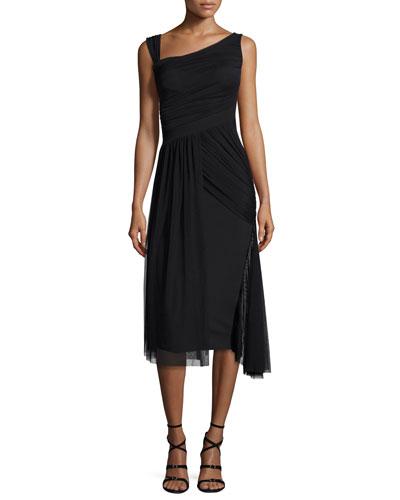 Ester Sleeveless Smocked Jersey & Tulle Dress, Nero