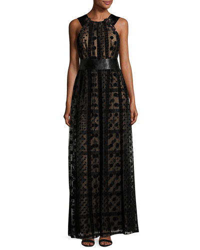 Sleeveless Grecian Tulle Overlay Gown, Black
