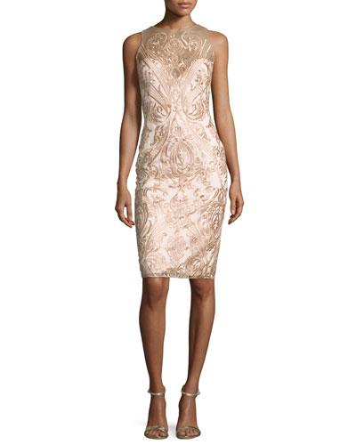 Sleeveless Embroidered Illusion Cocktail Dress, Blush