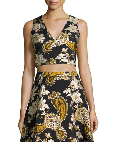Sleeveless Paisley Embroidered Crop Top, Black/Gold